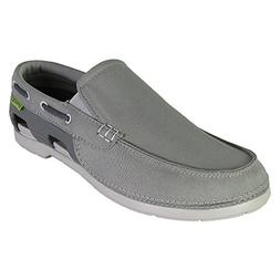 crocs Men's 15386 Beach Line Boat Slip-On Loafer,Smoke/Pearl