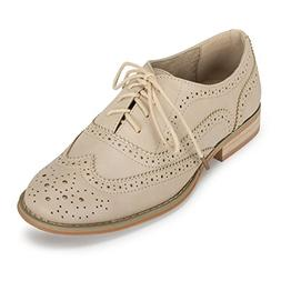 Wanted Shoes Womens Babe Almond Toe Oxfords, Natural, Size 8
