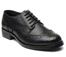 U-lite Black Perforated Lace-up Wingtip Leather Flat Oxfords