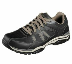 Black Leather Skechers Shoes Men's Memory Foam Sporty Taupe