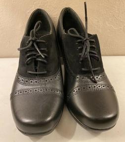 Clarks Black Leather Shoes Women Bootie Sz 7M Oxford Brogue
