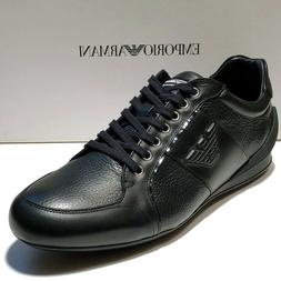 Armani Black Men's Sneakers Sport Oxford Leather Shoes X4X13