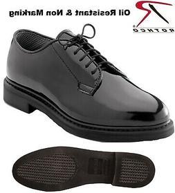 Black Oxford Dress Shoes Uniform High Gloss Sizes Reg & Wide