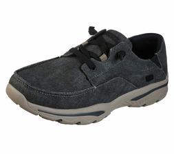 Skechers Black Shoes Men Canvas Memory Foam Slip On Comfort