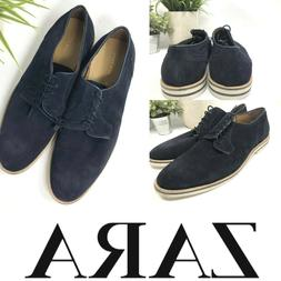 ZARA Black SUEDE LEATHER OXFORD SHOES Lace Up NWTs  $89 MSRP