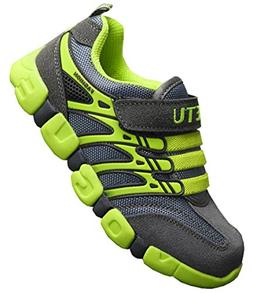 DADAWEN Boy's Girl's Athletic Strap Breathable Running Shoes