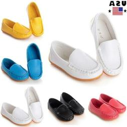 Boys Girls Kids Baby Oxford Flats Shoes Loafers Sneakers PU
