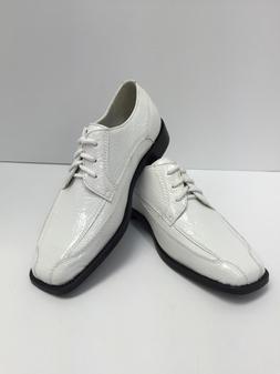 Hugo Vitelli Boys Youth White Oxford Dress Shoes Back to Sch