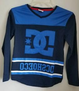 DC Shoes Brand Boys Blue Long Sleeve Logo Tee Shirt Top Size