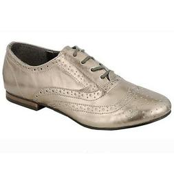 Breckelle's Pewter Faux Leather Womens Flats Low Heel Oxford