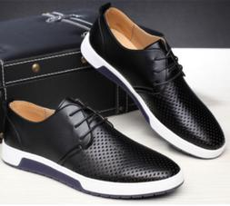 British Men Casual Genuine Leather Shoes Lace-up Sneakers Ox