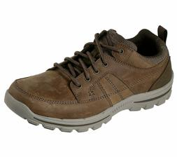 Skechers Brown shoes Men Memory Foam Leather Lace Up Casual
