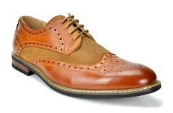 Bruno Marc Mens Prince Leather Lined Lace-up Wing-Tip Formal