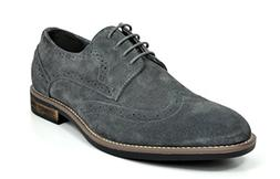 Bruno Marc Men's URBAN-03 Grey Suede Leather Lace Up Oxfords