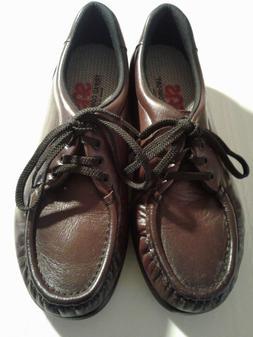 SAS Burgundy Leather Moc Toe Lace Up Oxford Comfort Loafer S