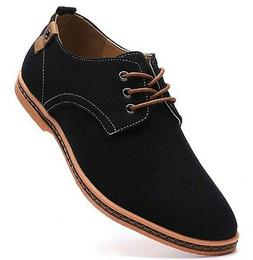 DADAWEN Men's Canvas Oxford Casual Shoe Black US Size 9