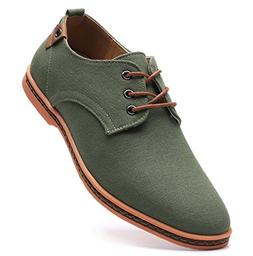 DADAWEN Men's Casual Canvas Lace Up Oxfords Shoes Green US S