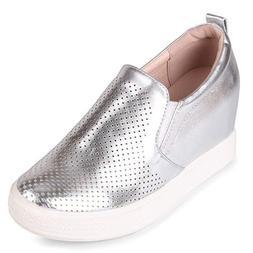 cascade hidden heel platform slip on wedge