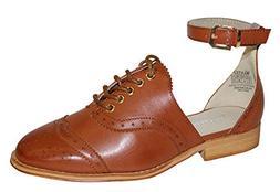 Wanted Women's Cherub Lace-Up Ankle Strap Oxford Shoe, Tan,