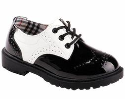 DADAWEN Children's Boy's Girl's Oxford Dress Shoe  Black and