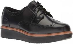 CLARKS Women's Teadale Maira Oxford 6.5, Black Shiny Leather
