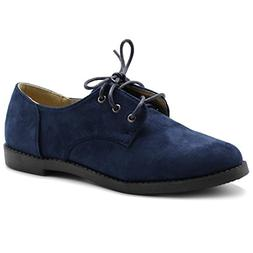 Ollio Women Classic Flat Shoe Lace Up Faux Suede Oxford ZM29