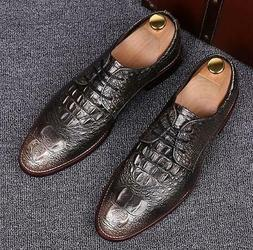 classic Mens Lace Up Pointy Toe Leather Business formal casu