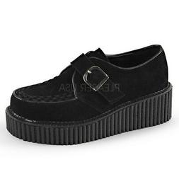Demonia CREEPER-118 Black Platform Monk D Shaped Buckle Casu