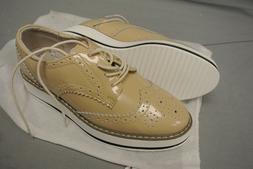 DADAWEN Women's Platform Lace Up Wingtips Oxfords Shoe - Cre