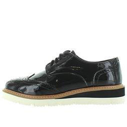 Wanted Womens Downey Black Patent Oxford - 6.5