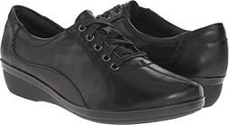 CLARKS Women's Everlay Elma, Black Leather 8 W US
