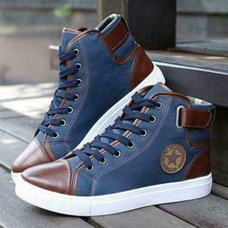 Fashion Men's Oxfords Casual High Top Shoes Leather Shoes Ca