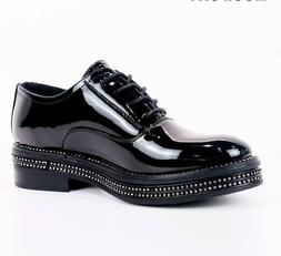 Fashion Women Oxford Shoes Patent Leather Flat Heels With Im