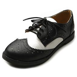 Ollio Women's Flat Shoe Wingtip Lace Up Two Tone Oxford M291