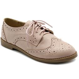 Ollio Women's Flats Shoes Wingtip Lace up Oxfords M2921  US,