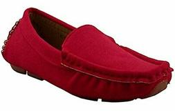 DADAWEN Girl's Boy's Soft Suede Leather Slip-on Oxford Flats