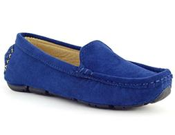 DADAWEN Girl's Boy's Suede Slip-on Loafers Oxford Shoes Blue