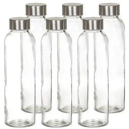 Estilo Glass Water Bottles 16 Oz, Stainless Steel Cap - Case