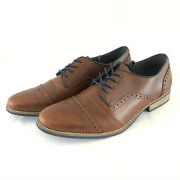 Globalwin Mens Oxford Dress Shoes Lace Up Faux Leather Brown