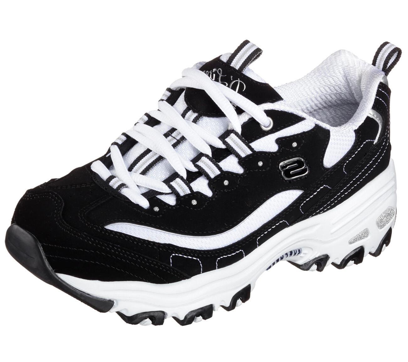 Skechers Black D'lites BKW Shoes Women's Sporty Casual Comfo