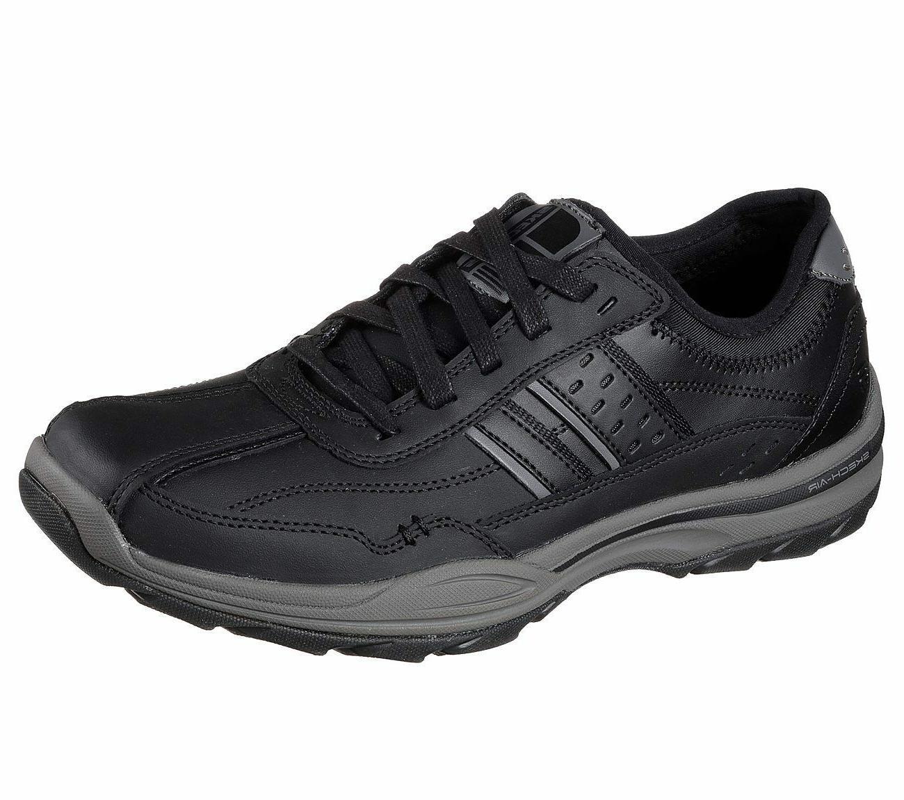 65055 black shoes men memory foam lace