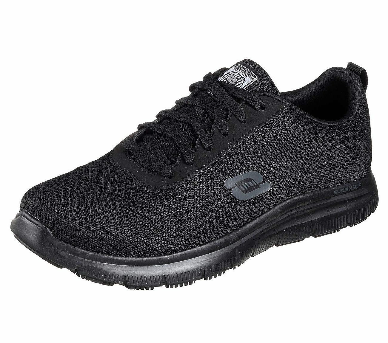 Skechers Black shoes Work Men Comfort Mesh Slip Resistant Me
