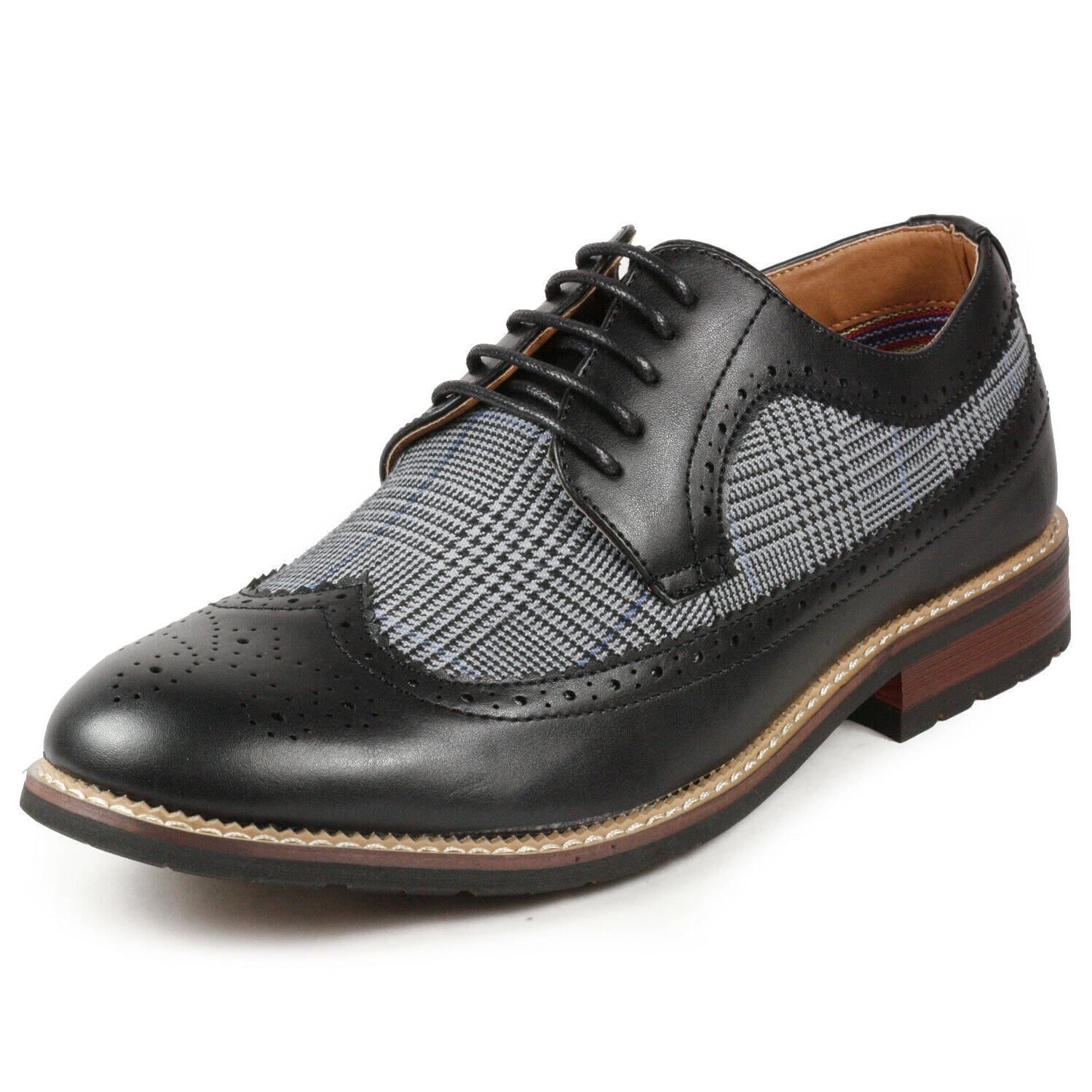Black Tweed Men's Tip Lace Up Oxford Dress