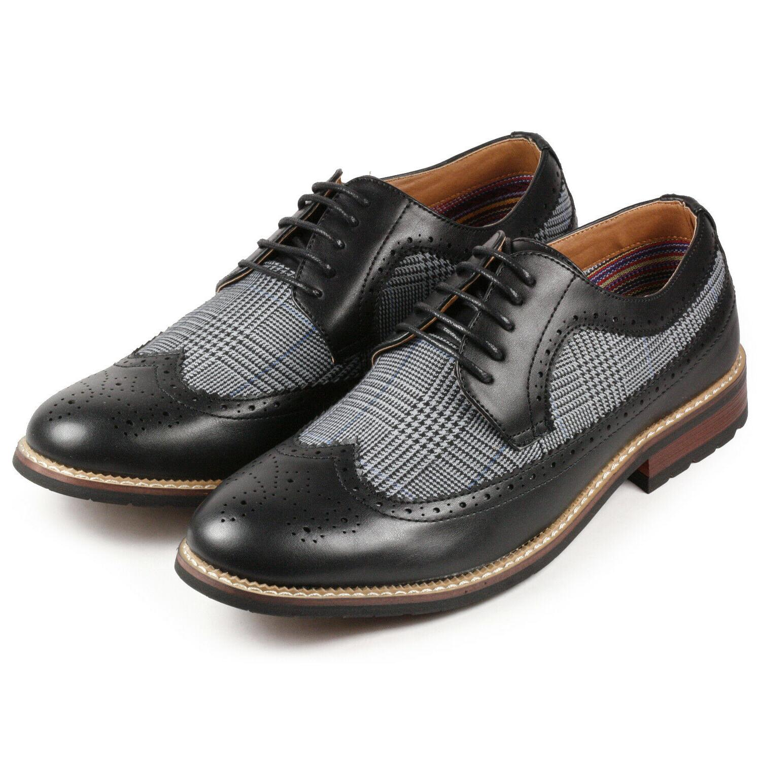 black tweed men s wing tip lace