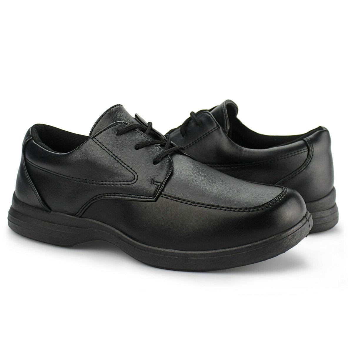 Boys Black School Shoes Kids Up Oxford Flat Hawkwell