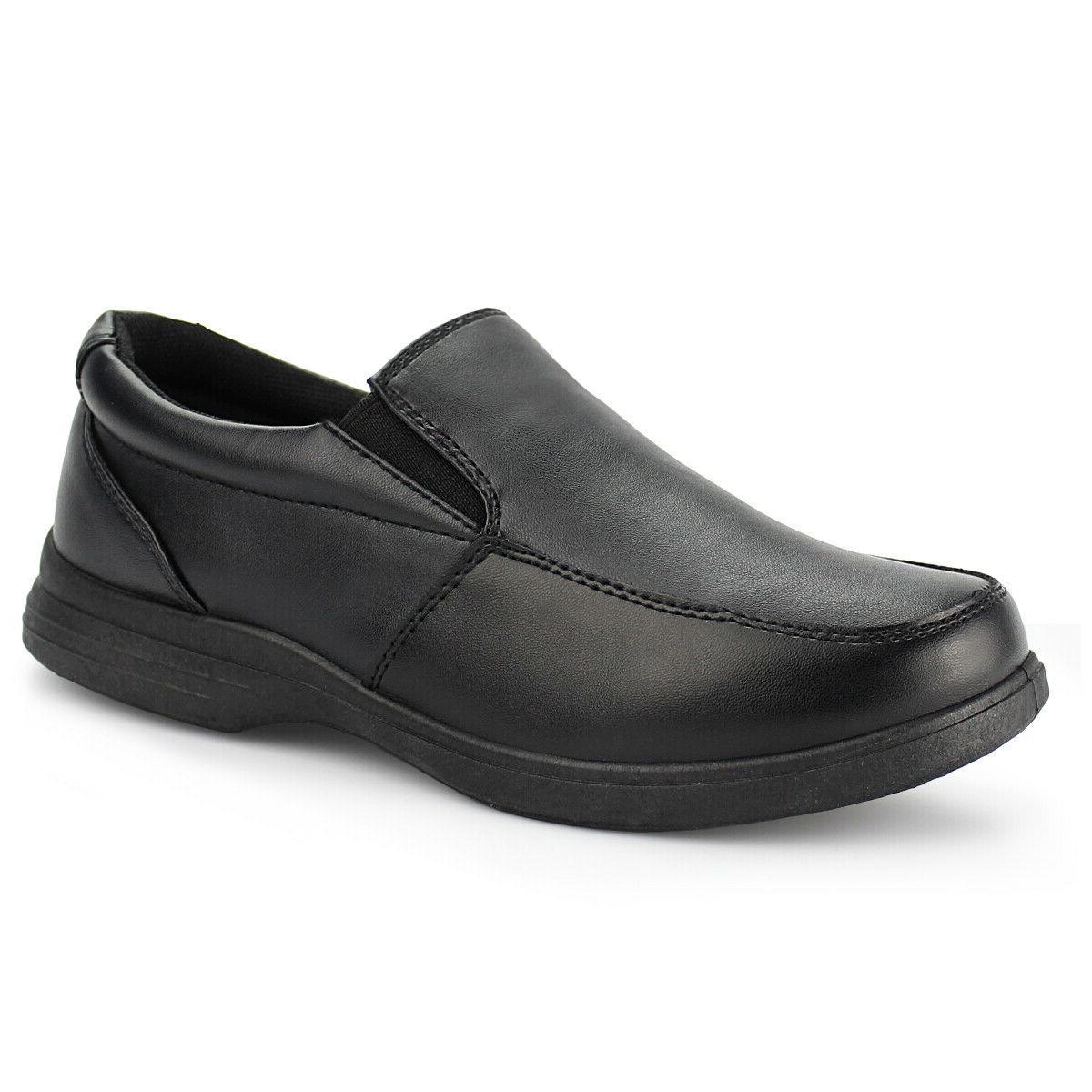 Boys Black School Uniform Shoes Kids Classic Slip On Dress O