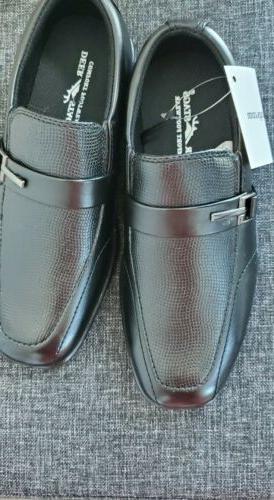 boys dress shoes black faux leather 13