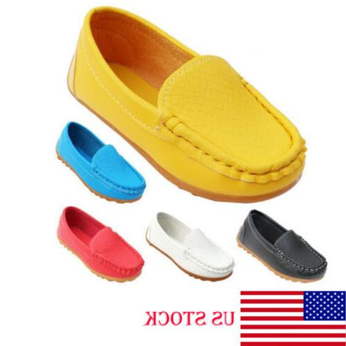 Boys Girls Boat Sneakers Kids Oxford Flat Shoes Slip On Loaf