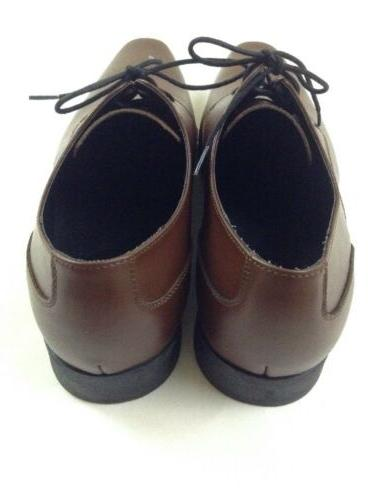 Calvin Brodie Brown Leather Lace-Up Shoes 16