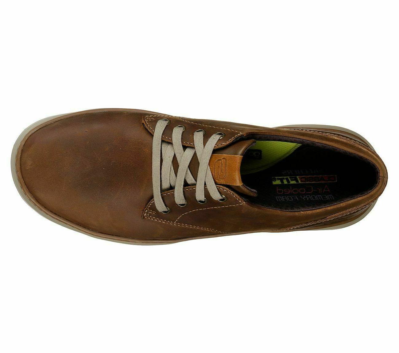 Skechers Leather Shoes Men Memory Foam Sporty Casual Comfort Oxford 66073